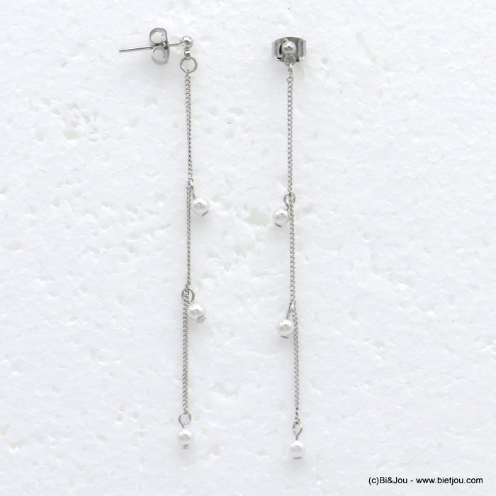 earrings 0319722-13 dangle chic with pearls and in metal with pendants rod flexible woman 70x3mm