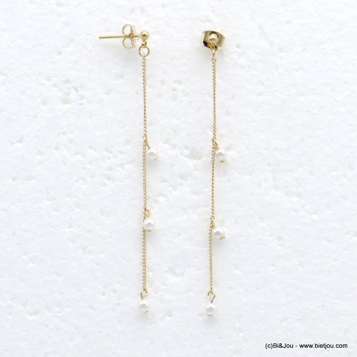 earrings 0319722-14 dangle chic with pearls and in metal with pendants rod flexible woman 70x3mm