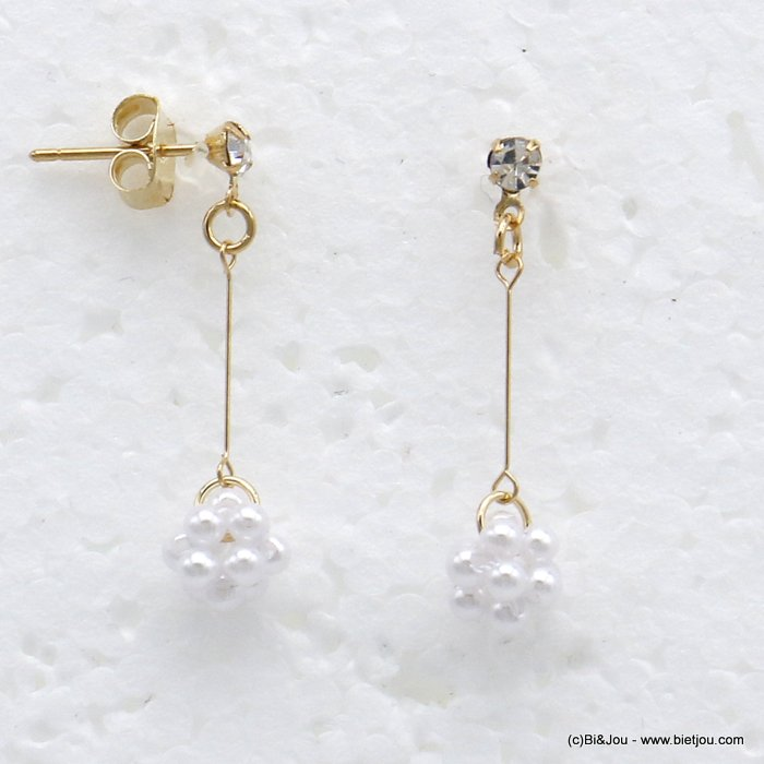 earrings 0319723-14 dangle metal with pearl with pendants rod butterfly clasp woman 30x5mm