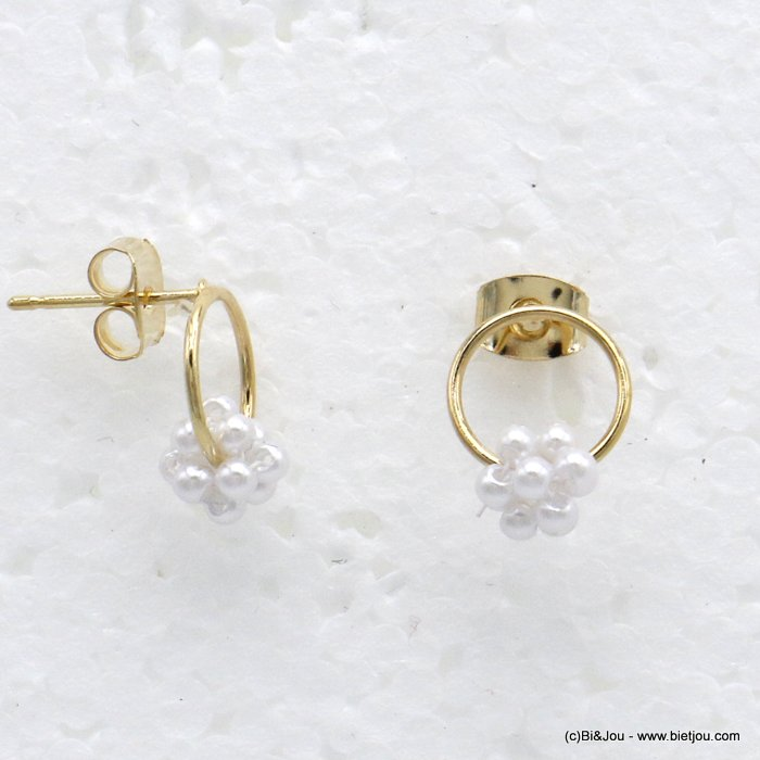 earrings 0319724-14 dangle chic with pearl round ring metal woman 10x10mm