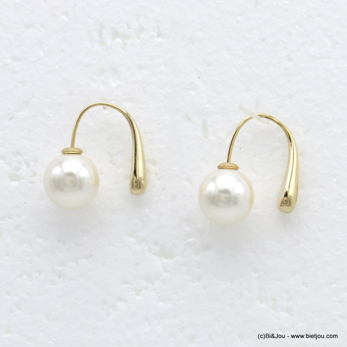 earrings  0319726-14 hook minimalist metal pearl imitation woman 25x10mm