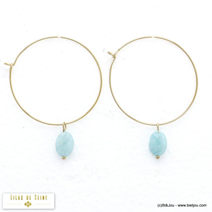 earrings 0320001-07 hoop stainless steel natural stone woman diameter:40mm