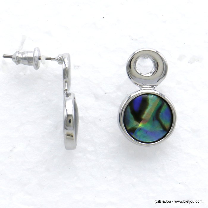 earrings 0320005-29 round coloured resin metal woman stud clasp 10x20mm