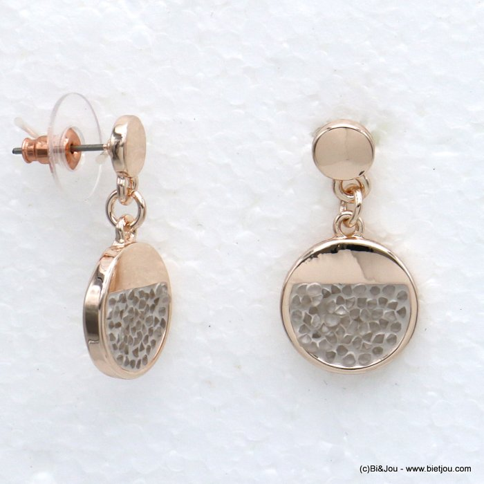 earrings 0320012-06 round geometric metal coloured rhinstone woman dangle stud clasp 25x28mm