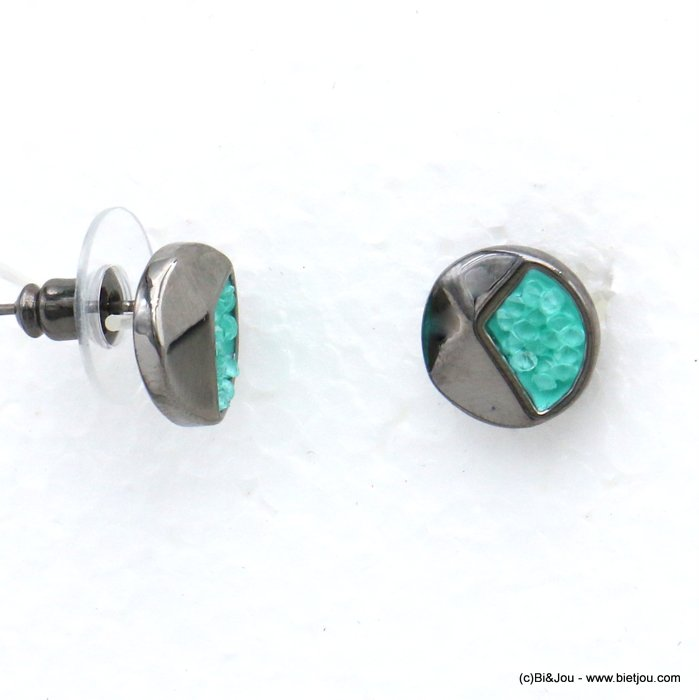 earrings 0320014-07 stud round geometric metal coloured rhinstone woman stud clasp 10mm