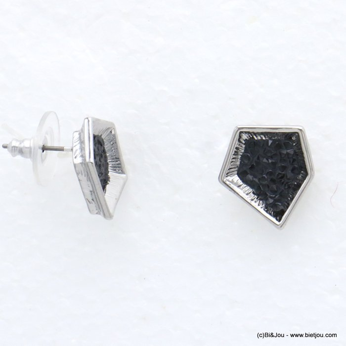 earrings 0320016-01 stud geometric metal coloured rhinstone woman stud clasp 15x15mm