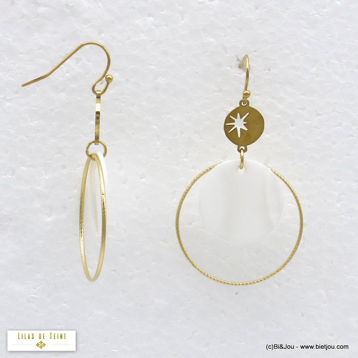 earrings 0320022-19 dangle with shell double round and north star in stainless steel woman 40x50mm