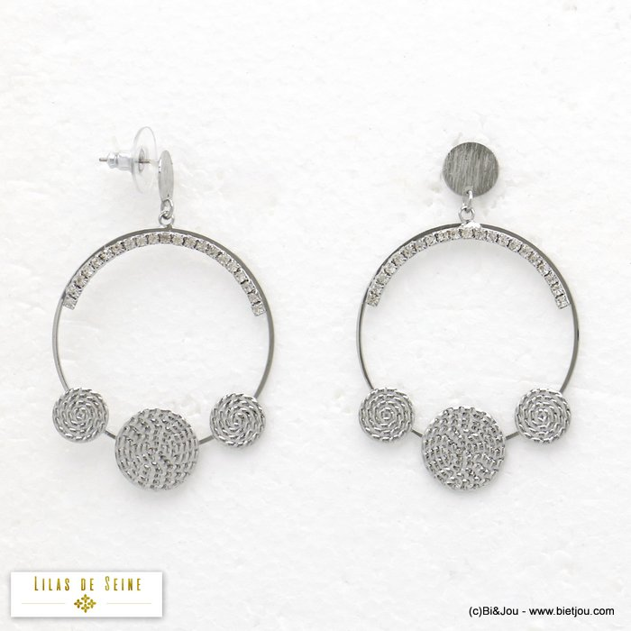 earrings 0320028-13 geometric contemporary spiral metal rhinestone dangle woman stud clasp 40x60mm