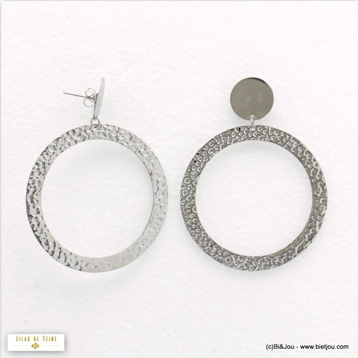 earrings 0320044-13 round pendant hoop butterfly clasp stainless steel woman