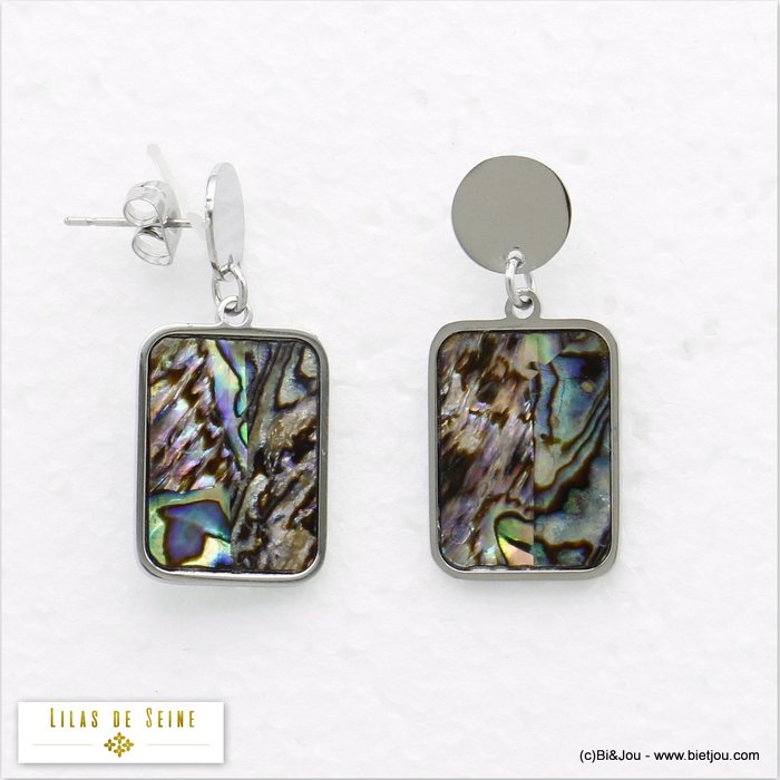 earrings 0320050-13 stainless steel shell woman butterfly clasp 19x29mm