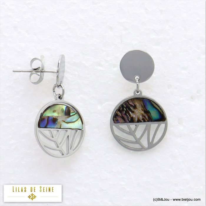 earrings 0320051-13 stainless steel shell woman butterfly clasp 14x25mm