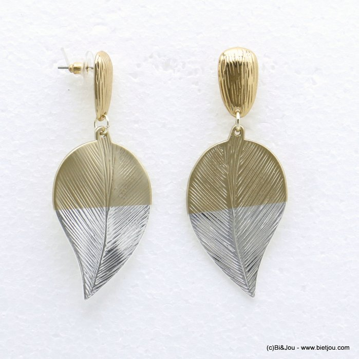 earrings 0320055-21 XXL leaf golden silver groove push clasp metal woman