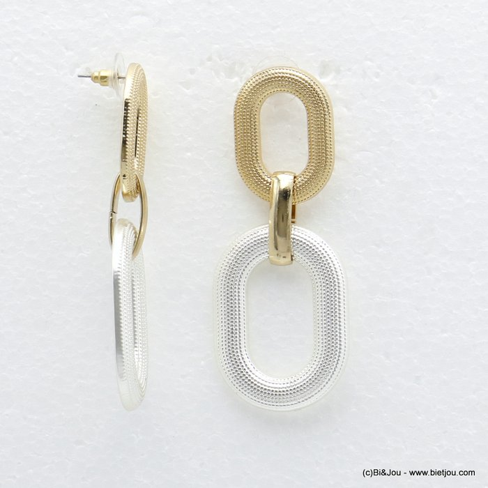 earrings 0320056-21 XXL double oval golden silver metal woman