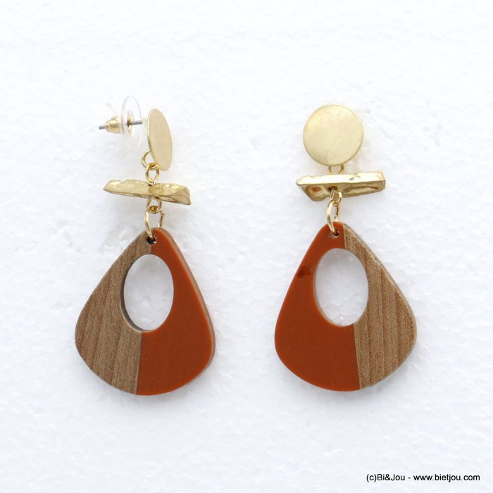 earrings 0320062-10 stud clasp resin-wood-metal woman 27x54mm