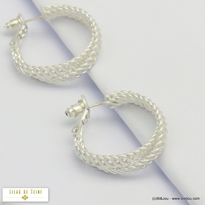 earrings 0320075-13 hoop intertwined chainmail rings metal woman saddle-back clasp 25x25mm
