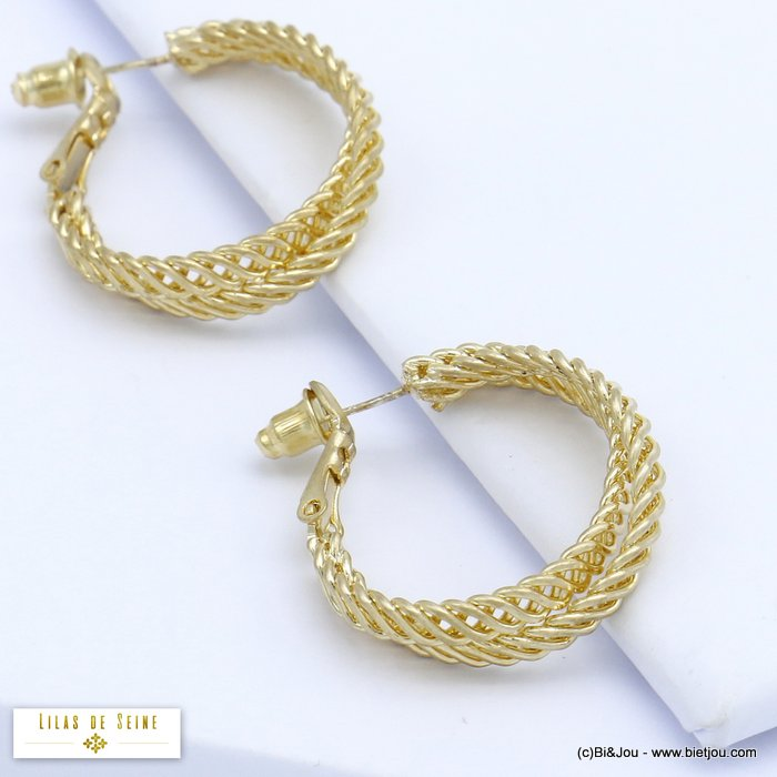 earrings 0320075-14 hoop intertwined chainmail rings metal woman saddle-back clasp 25x25mm
