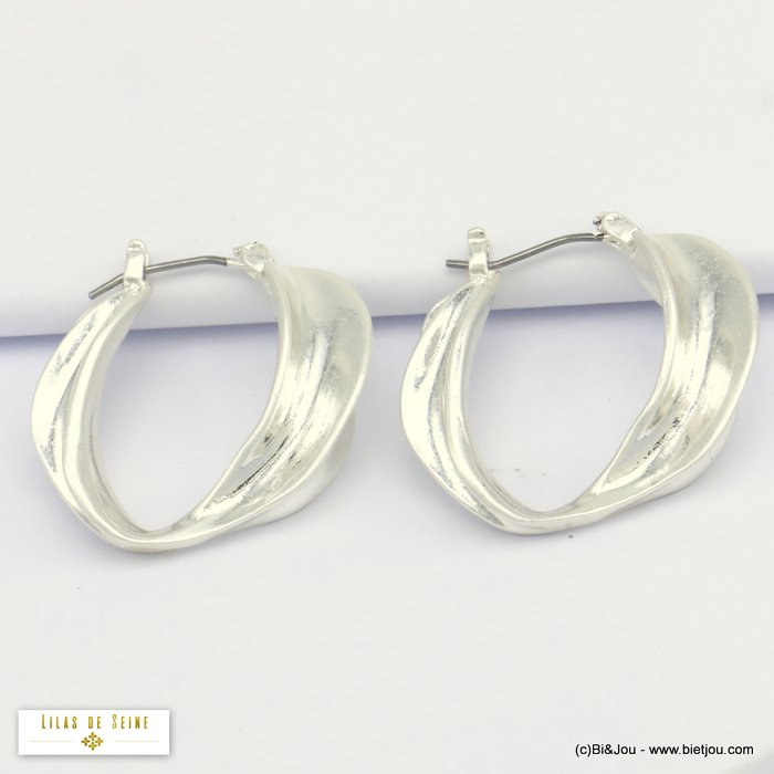earrings 0320076-13 hoop melted metal woman saddle-back clasp 10x30mm