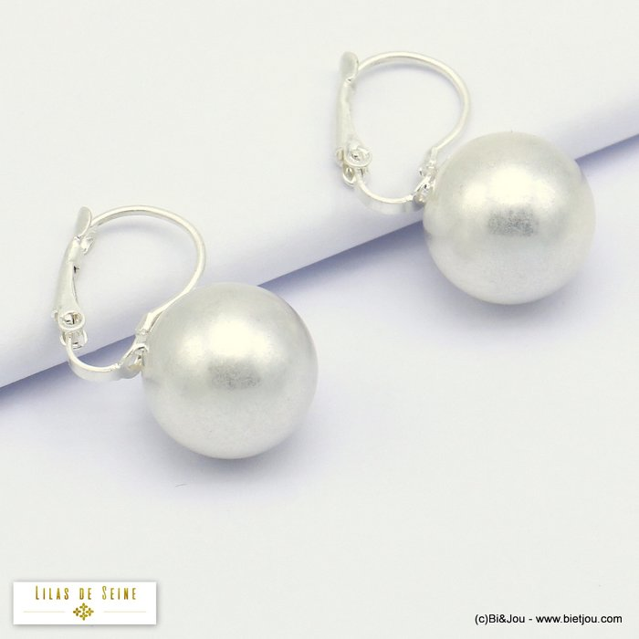 earrings 0320079-13 ball metal woman French clip 13mm