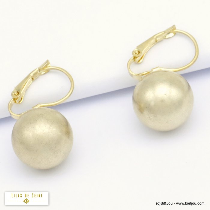 earrings 0320079-14 ball metal woman French clip 13mm