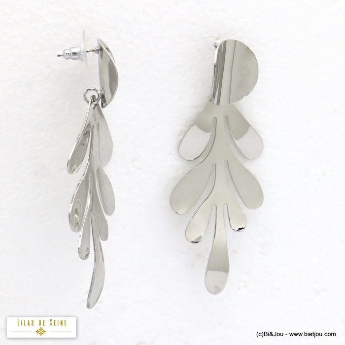 earrings 0320086-13 XXL oversize leaf metal dangle woman stud clasp 30x80mm