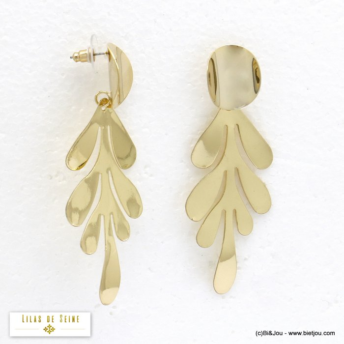 earrings 0320086-14 XXL oversize leaf metal dangle woman stud clasp 30x80mm