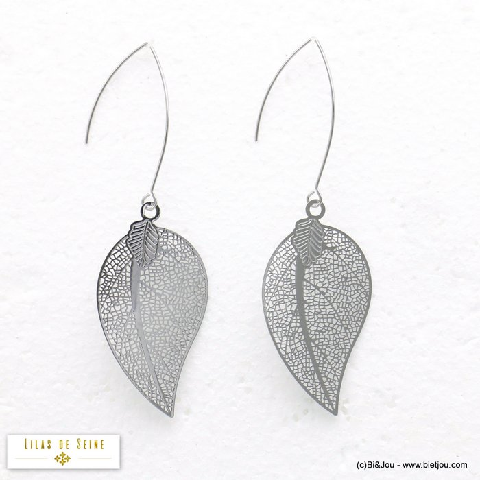 earrings 0320095-13 crossing filigree leaf metal dangle woman butterfly clasp 30x85mm