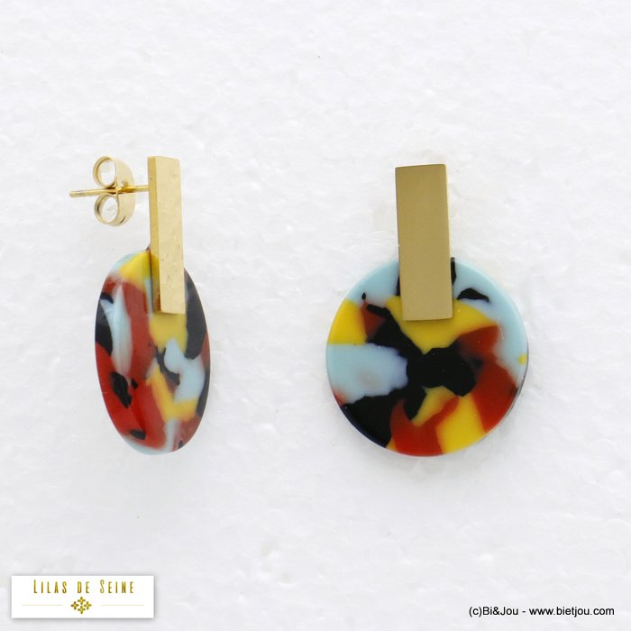 earrings 0320096-99 round tortoise shell resin stainless steel woman butterfly clasp 20x28mm