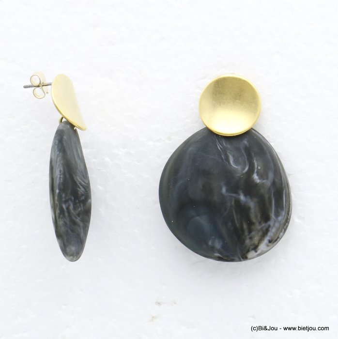 earrings 0320107-26 geometric round metallized and marbled matte resin woman butterfly clasp 35x45mm