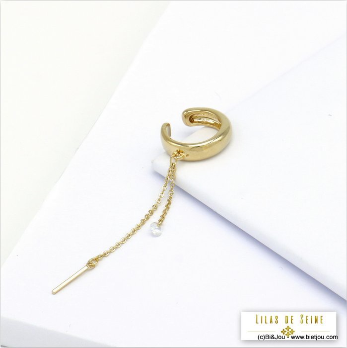 ear cuff 0320113-14 metal-imitation pearl acrylic-chain-bar 15x70mm