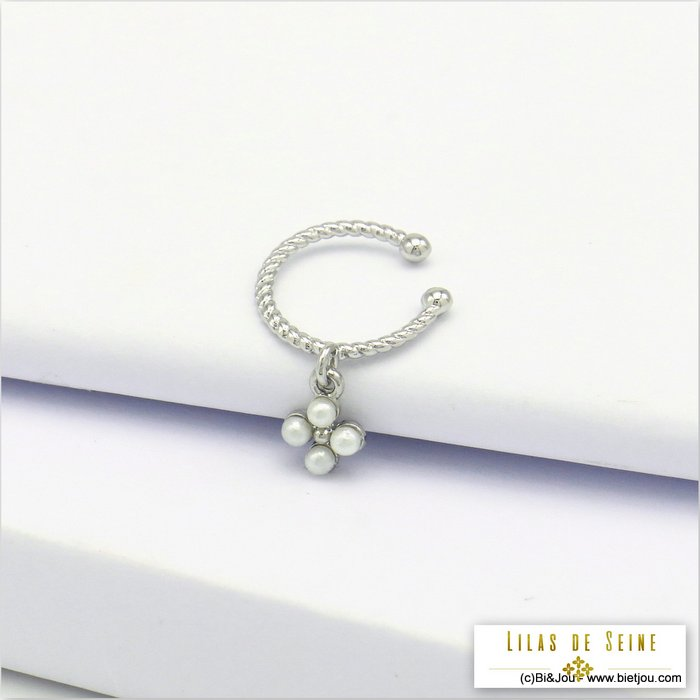 ear cuff 0320128-13 clover imitation pearl acrylic metal  2x20mm