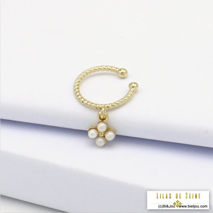 ear cuff 0320128-14 clover imitation pearl acrylic metal  2x20mm