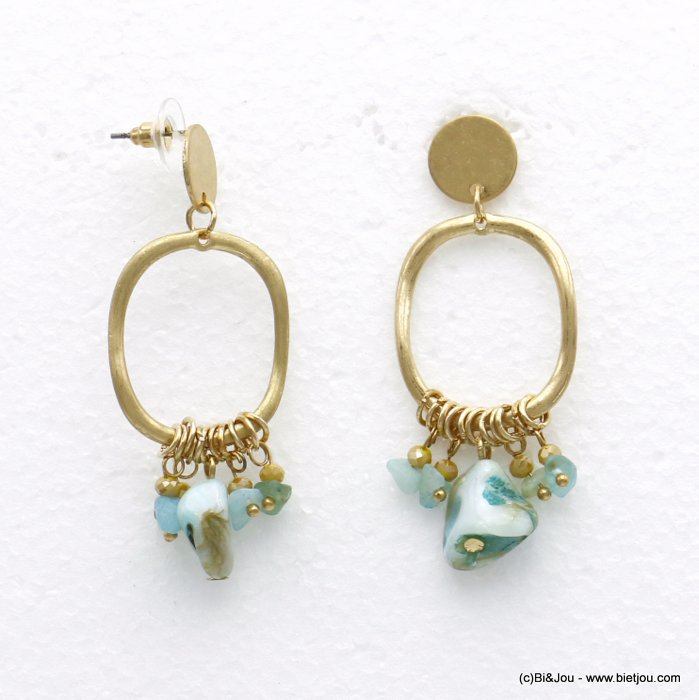 earrings 0320132-17 nail clasp shell-metal-crystal 24x60mm