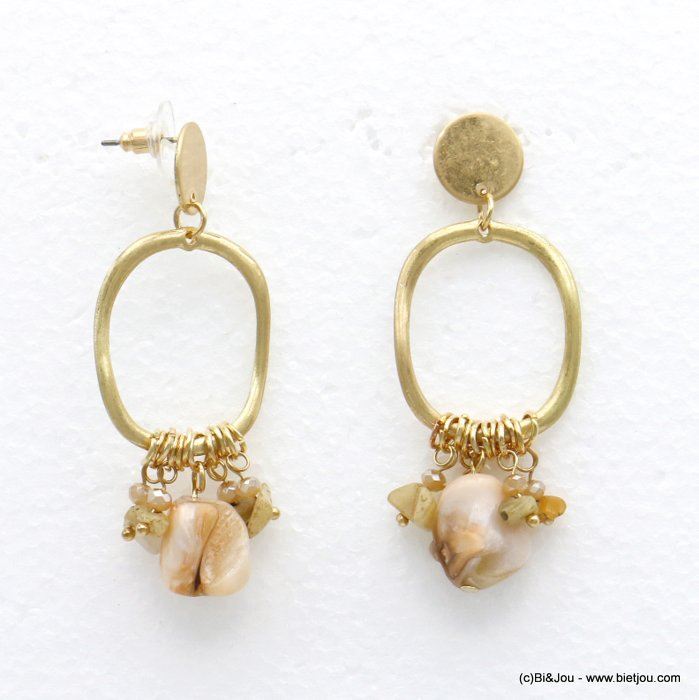 earrings 0320132-30 nail clasp shell-metal-crystal 24x60mm