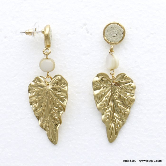 earrings 0320137-19 leaf studs clap shell metal suede 23x63mm