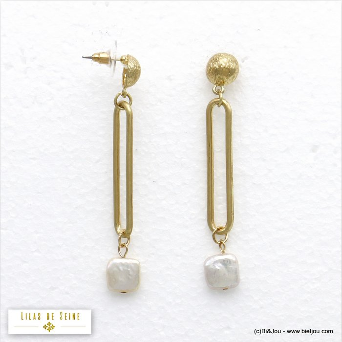 earrings 0320139-14 matte metal-fresh water pearl bullet clutch 10x69mm