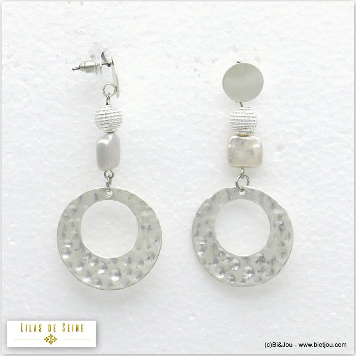 earrings 0320140-13 matte metal-fresh water pearl bullet clutch 30x67mm