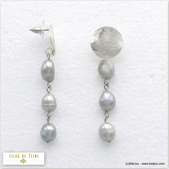 earrings 0320142-13 metal-fresh water pearl bullet clutch 17x65mm