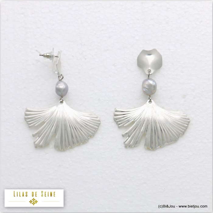 earrings 0320143-13 matte metal-fresh water pearl bullet clutch 45x62mm