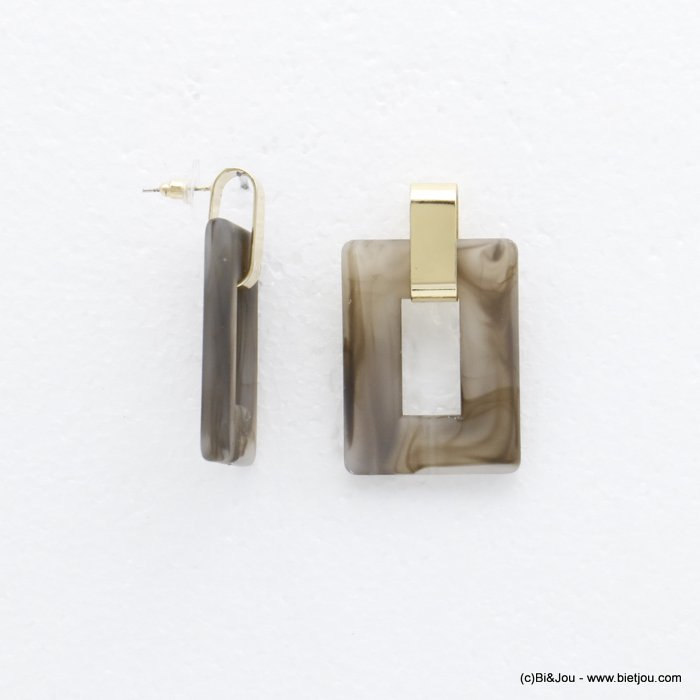 earrings 0320150-25 dangling geometric rectangular in resin woman 50x30mm
