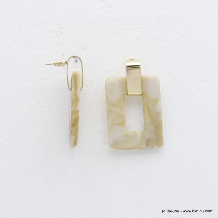 earrings 0320150-30 dangling geometric rectangular in resin woman 50x30mm