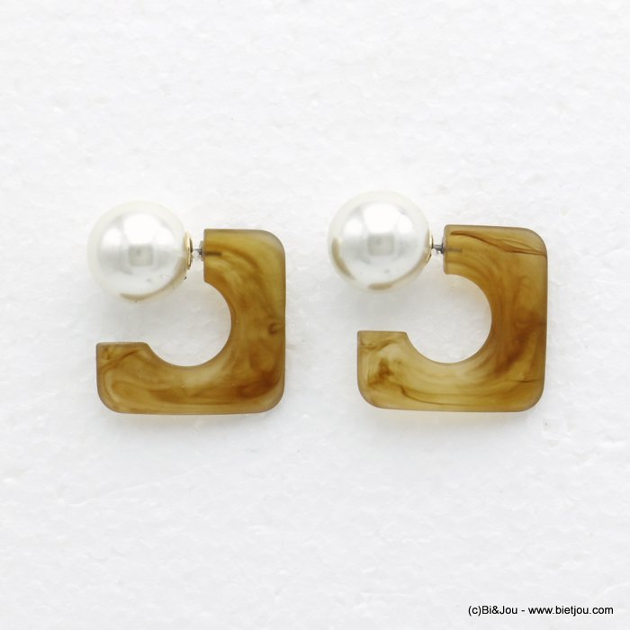 earrings 0320151-02 geometric square acrylic imitation pearl marbled matte resin woman 25x25mm ball diameter=15mm