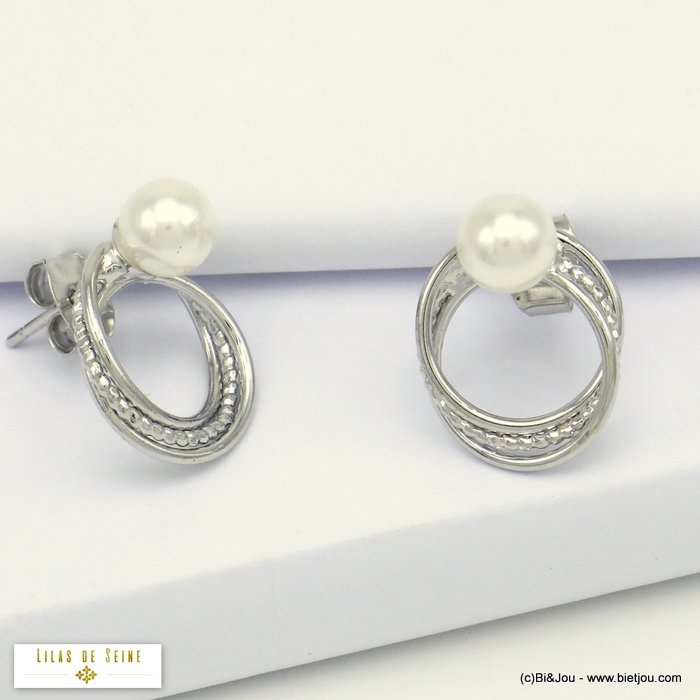 earrings 0320163-13 intertwined rings metal acrylic imitation pearl woman butterfly clasp 12x15mm