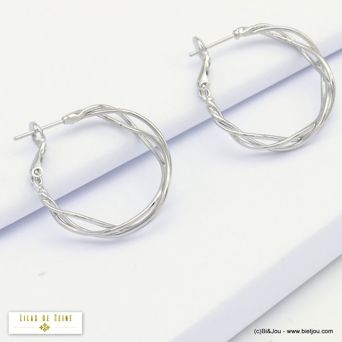 earrings 0320170-13 hoop minimalist intertwined metal threads woman saddle-back clasp 4x25mm