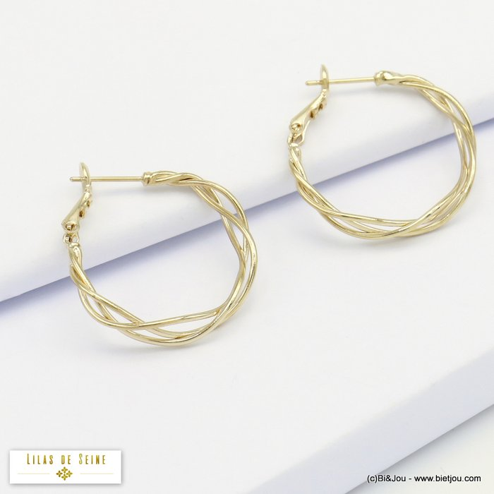 earrings 0320170-14 hoop minimalist intertwined metal threads woman saddle-back clasp 4x25mm