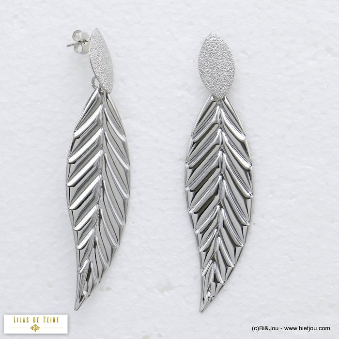earrings 0320175-13 leaf XXL oversized metal dangle woman butterfly clasp 18x75mm