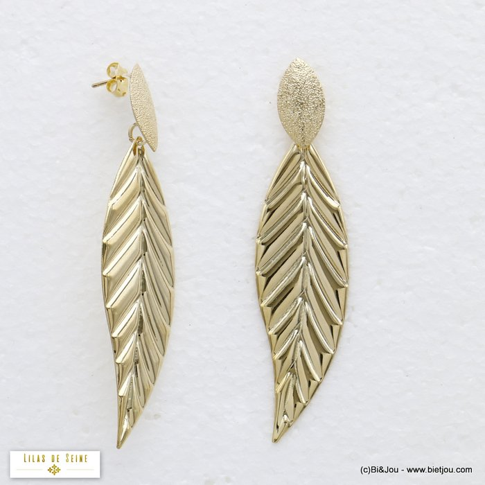 earrings 0320175-14 leaf XXL oversized metal dangle woman butterfly clasp 18x75mm