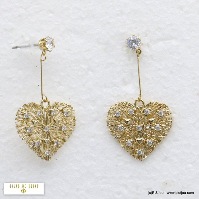 earrings 0320182-14 heart metal threads rhinestone dangle woman stud clasp 20x35mm