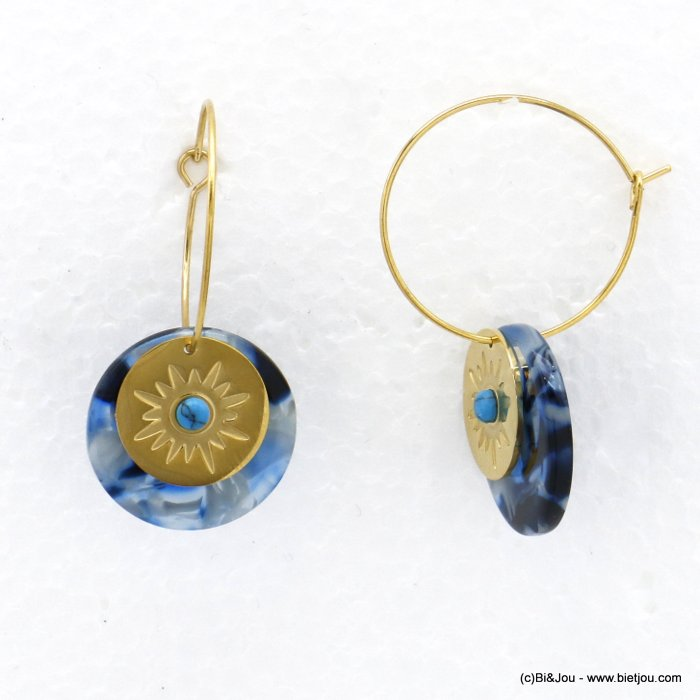 earrings 0320192-08 hoop marbled effect resin stainless steel stone cabochon woman 25x40mm