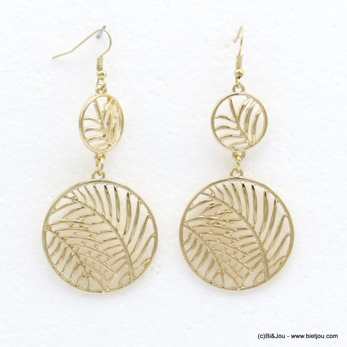 earrings 0320193-14 dangle double round leaf XXL fish hook clasp in metal woman 40x65mm