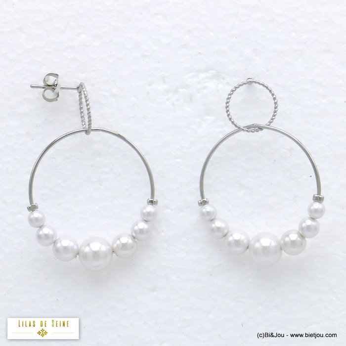 earrings 0320198-13 hoop minimalist in metal with pearl geometric and double round women 40x30mm